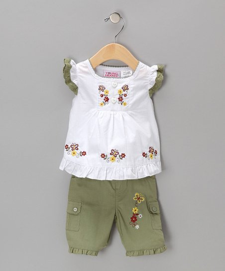 White & Green Swing Top & Shorts - Girls
