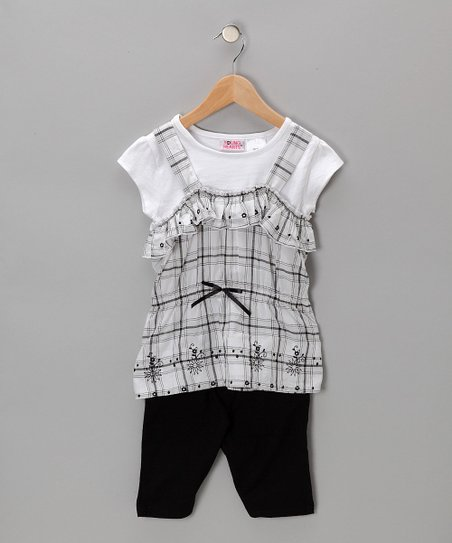 Black &amp; White Plaid Layered Top &amp; Shorts - Toddler &amp; Girls