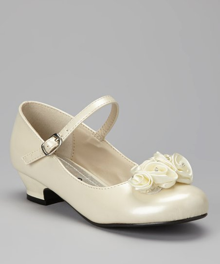 Beige Rosette Mary Jane