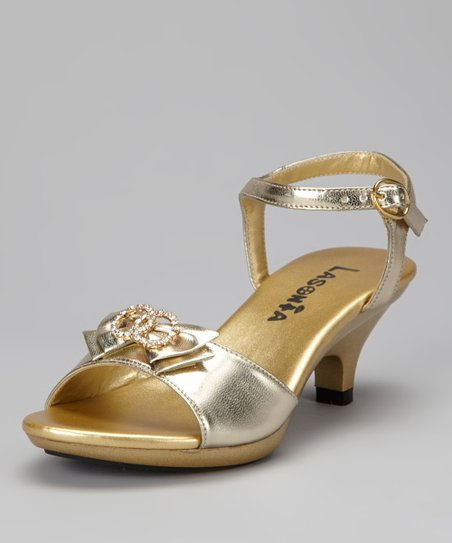 Gold Rhinestone Double-Ring Sandal
