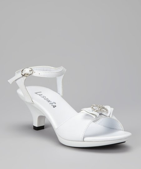 White Double Rhinestone Ring Sandal