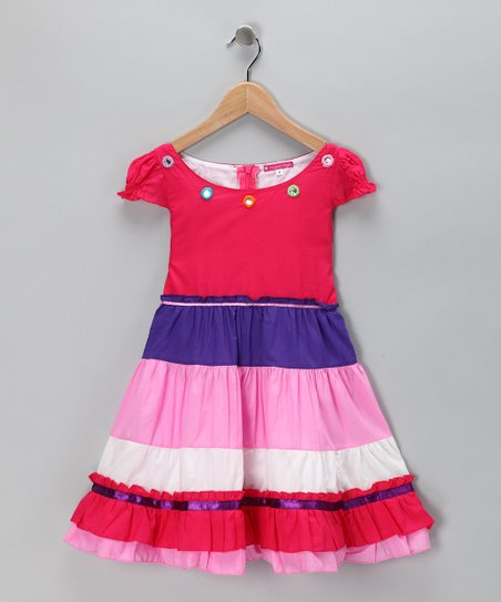 Pink &amp; Purple Tiered Flower Dress - Toddler &amp; Girls