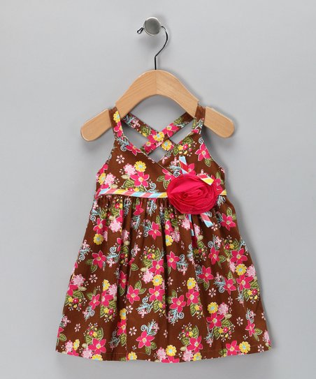 Brown Floral Rosette Dress - Infant & Toddler