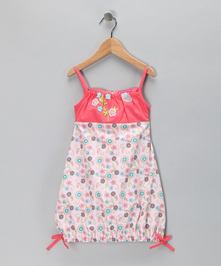 Coral Floral Rosette Dress - Toddler &amp; Girls