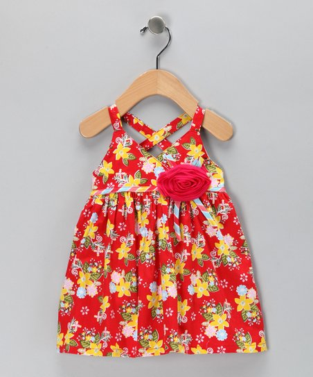 Orange Floral Rosette Dress - Toddler