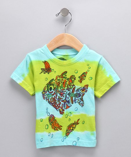 Green & Cyan Fish & Bird Organic Tee - Kids