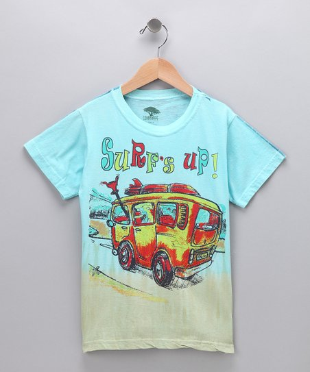 Turquoise 'Surf's Up!' Organic Tee - Kids