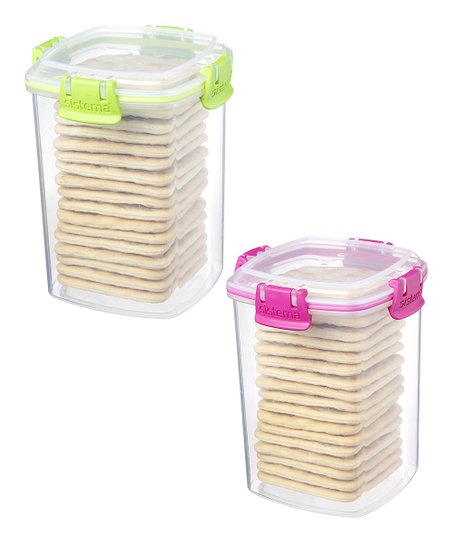 Pink & Green Medium Cracker Container Set
