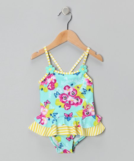 Aqua Floral Sun Alert One-Piece - Infant