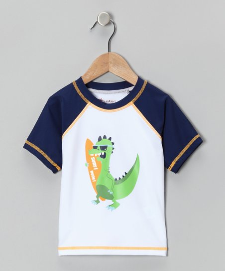 White Dino Sun Alert Rashguard - Infant, Toddler &amp; Boys