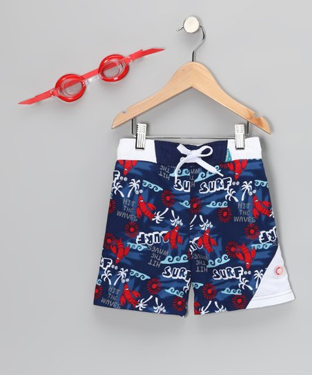 Navy Sun Alert Swim Trunks & Goggles - Boys