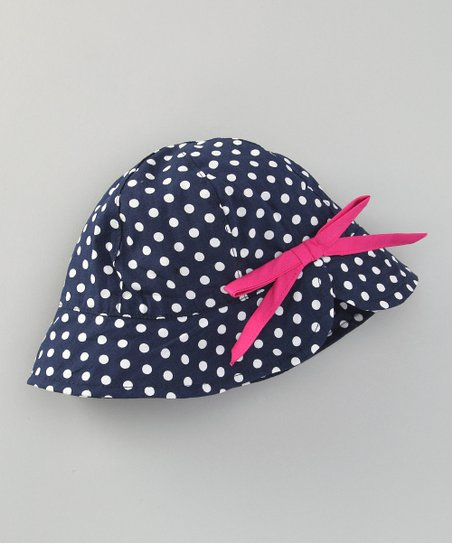 Navy Polka Dot Sun Alert Sunhat