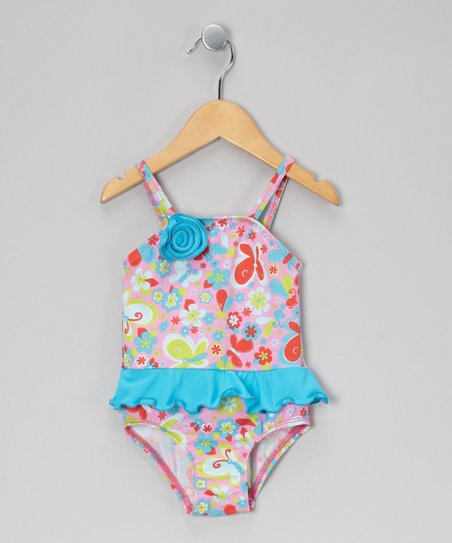 Turquoise Floral Skirted One-Piece - Infant, Toddler & Girls