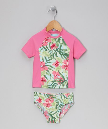 Pink Hawaiian Floral Rashguard Set - Toddler &amp; Girls