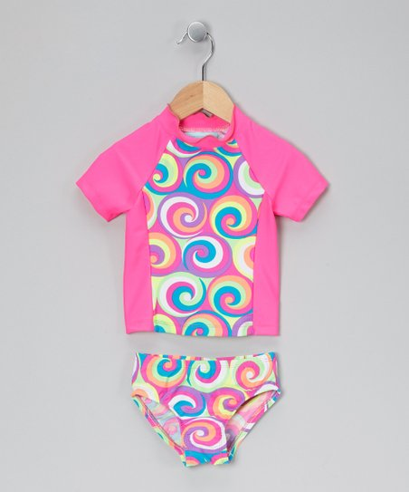 Hot Pink Swirl Rashguard Set - Toddler & Girls