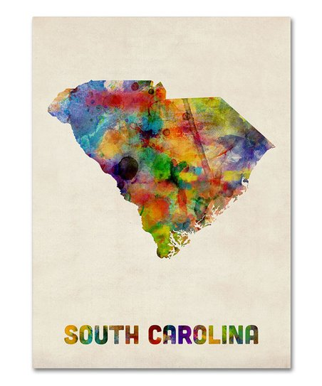 Tie-Dye South Carolina Map Gallery-Wrapped Canvas