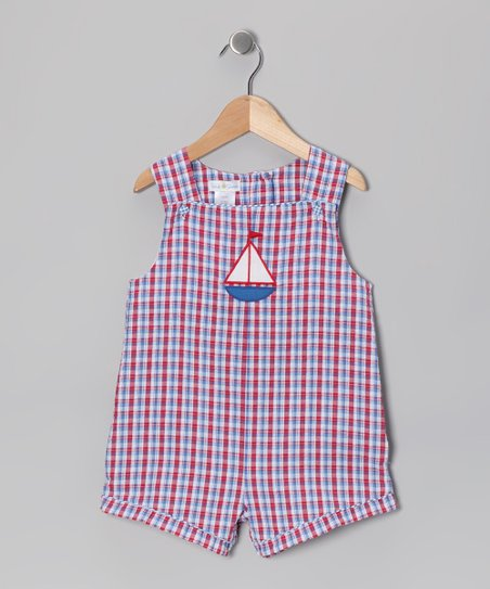Red & Blue Plaid Sailboat Seersucker Shortalls - Infant