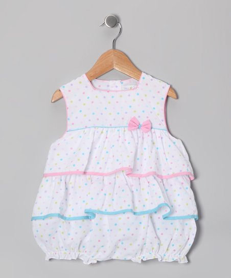 White Polka Dot Tiered Bubble Bodysuit - Infant