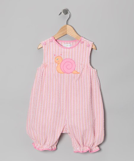 Pink Stripe Snail Seersucker Bubble Romper - Infant