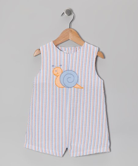 Blue Stripe Snail Seersucker Shortalls - Infant