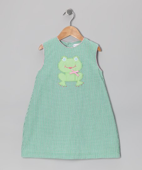 Green Frog Gingham Seersucker Dress - Infant & Toddler