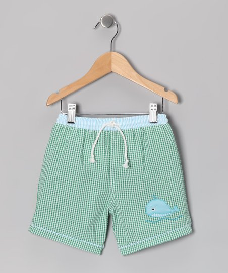Green Whale Gingham Seersucker Swim Trunks - Toddler