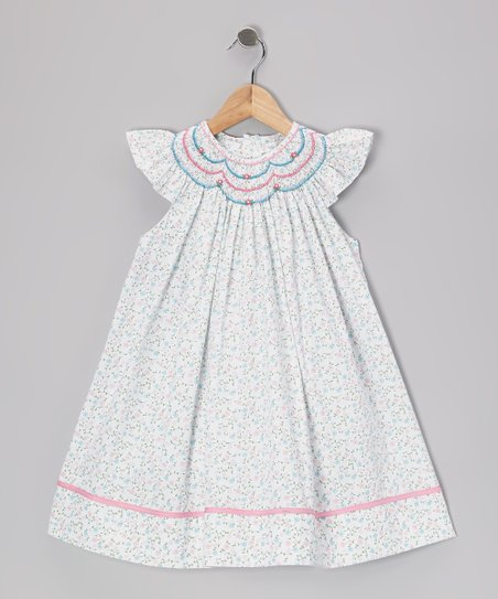 Blue & Pink Floral Smocked Angel-Sleeve Dress - Infant