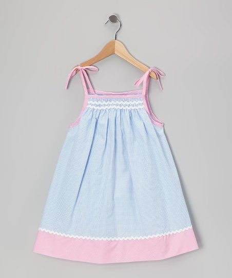 Blue & Pink Gingham Rickrack Swing Dress - Infant & Toddler