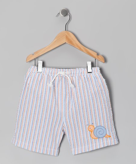 Blue Stripe Snail Seersucker Swim Trunks - Infant & Toddler