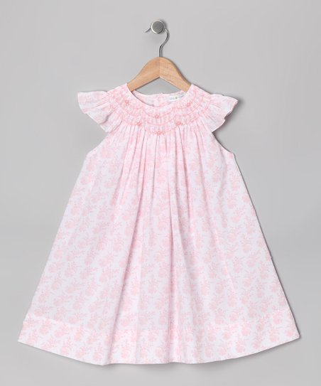 Pink Floral Angel-Sleeve Dress - Infant