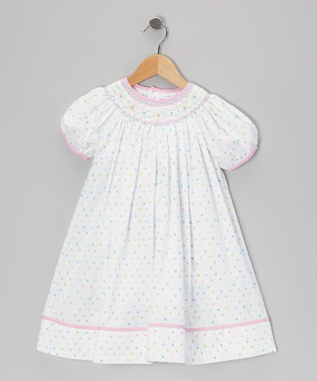 White & Pink Polka Dot Bishop Dress - Infant & Toddler