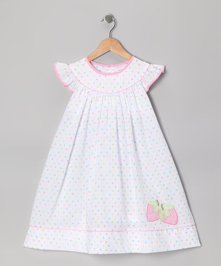 White Polka Dot Strawberry Angel-Sleeve Dress - Infant & Toddler