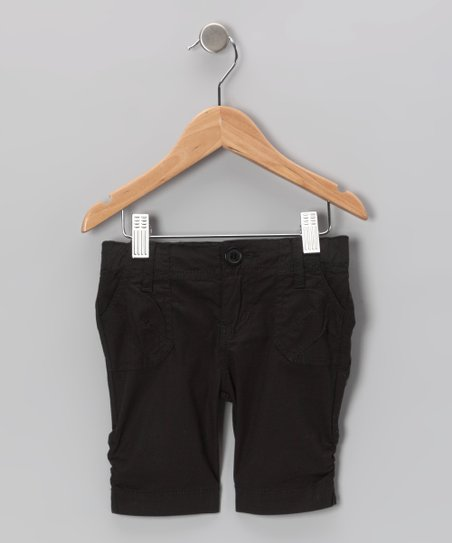 Black Poplin Bermuda Shorts - Toddler & Girls