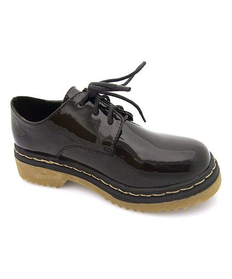 Black Patent Three-Hole Lace-Up Shoe