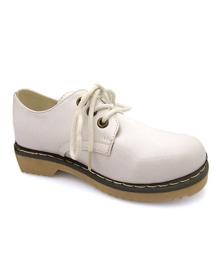 White Patent Three-Hole Lace-Up Shoe