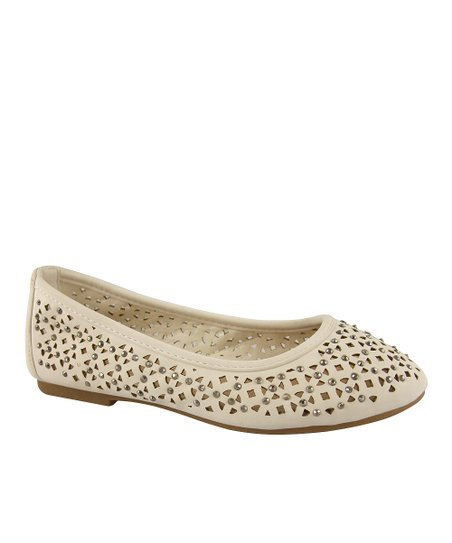 White Studded Pointelle Diana Flat