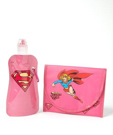 Supergirl 12-Oz. Foldable Bottle & Sandwich Bag