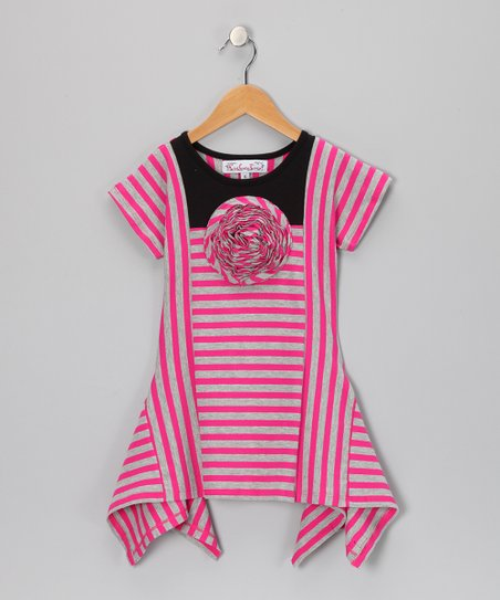 Raspberry & Silver Stripe Flyaway Top - Girls