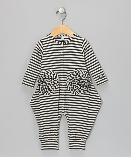 Charcoal & Milk Stripe Orchid Playsuit - Infant