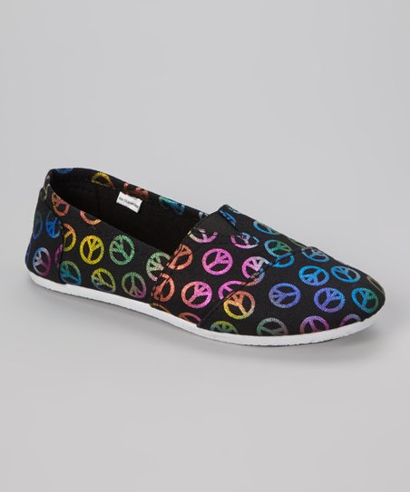 Black Peace Slip-On Shoe