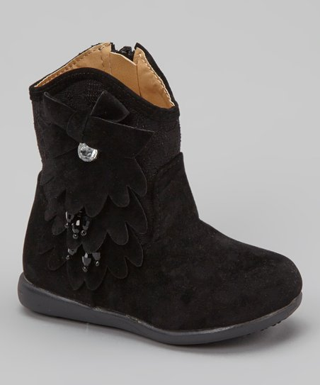 Black Kiki Rhinestone Flower Boot