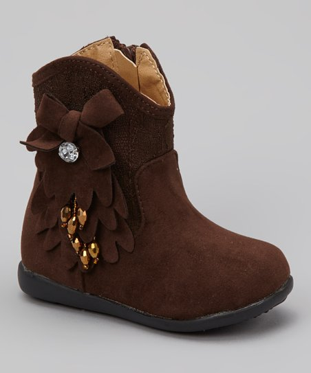 Coffee Kiki Rhinestone Flower Boot