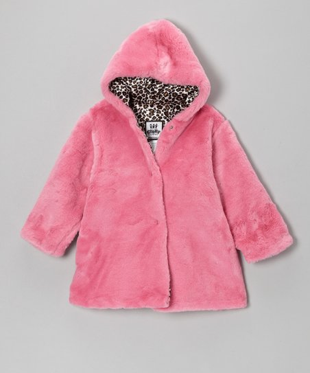 Brite Pink Leopard Softy Hooded Swing Coat - Infant