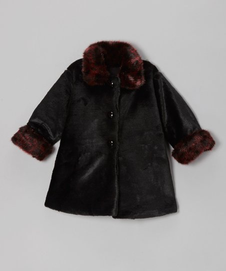 Black & Crimson Faux Fur Sweet Pea Coat - Infant, Toddler & Girls