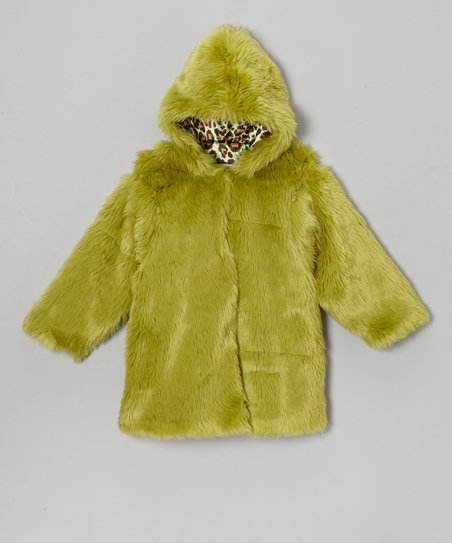 Lime Faux Fur Hooded Swing Coat - Infant & Toddler