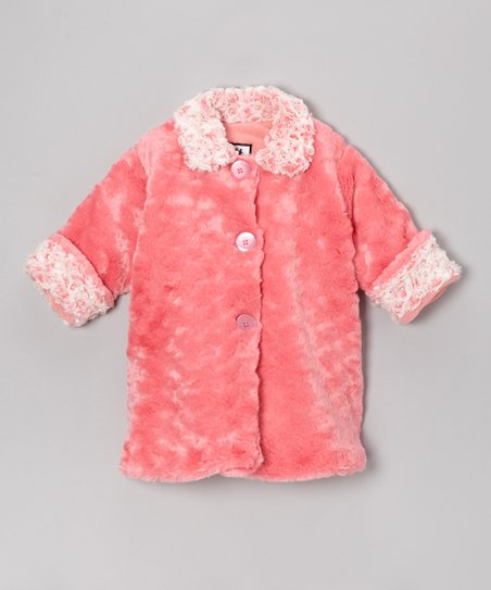 Coral & Cream Faux Fur Sweet Pea Coat - Infant, Toddler & Girls