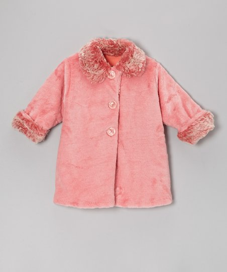 Brite Pink Faux Fur Sweet Pea Coat - Infant, Toddler & Girls