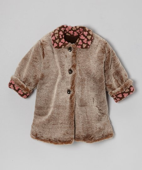 Brown Faux Fur Sweet Pea Coat - Infant, Toddler & Girls