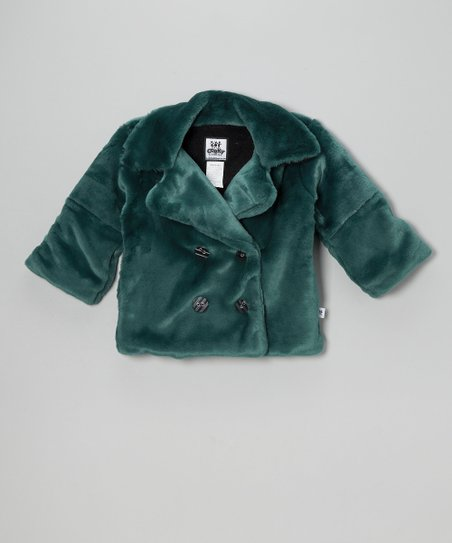 Teal Faux Fur Peacoat - Girls