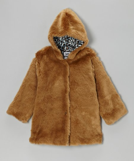 Light Brown Faux Fur Leopard Hooded Swing Coat - Infant & Toddler